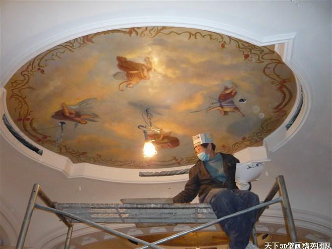 大型酒店壁画,手绘壁画,欧式壁画,天顶壁画,穹顶壁画,古典壁画等等